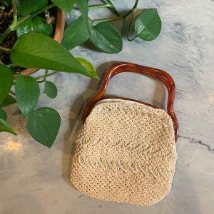 VTG 1970's Crocheted Cream Handbag